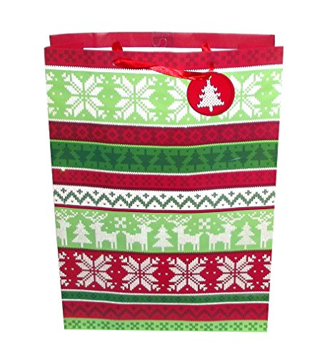 Amscan Ugly Sweater Style Winter Gift Bag, 18.5 X