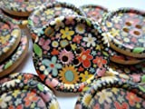 6 x Wooden Buttons, Funky Flower Pattern. Crafts, Knitting, Sewing, Haberdashery (30mm, 4 Holes)