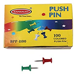 Bambalio Drum Shape Colored Push Pins - 100 pcs Pack