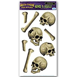 Beistle Skulls and Bones Peel N Place for Halloween Party, 12-Inch by 24-Inch
