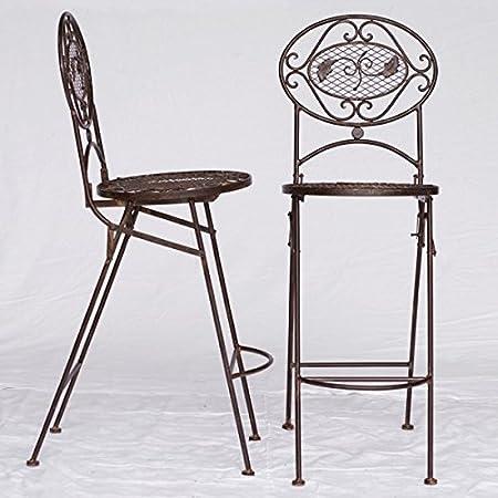 Barstuhle Gartenmöbel Metall Bistromöbel Set braun 2 hohe Bar Stuhle Kuchenbar