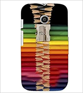 PrintDhaba Sharper with Coloured Pencils D-4269 Back Case Cover for MOTOROLA MOTO E (Multi-Coloured)