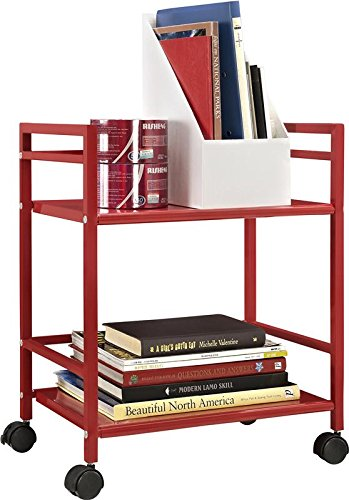 Altra Furniture 2-Shelf Metal Rolling Utility Cart or Industrial Table, Bright Red Finish