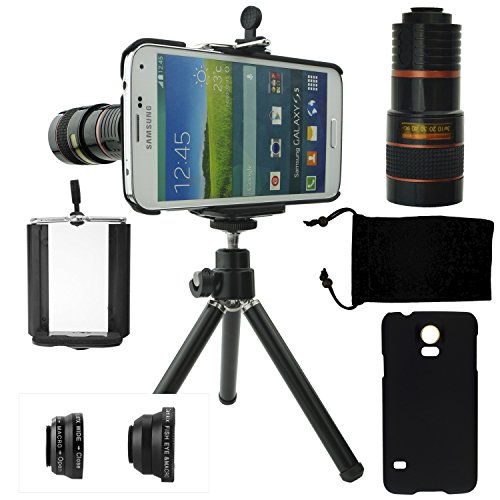 Samsung Galaxy S5 Camera Lens Kit Including An 8X Telephoto Lens / Fisheye Lens / 2 In 1 Macro Lens And Wide Angle Lens / Mini Tripod / Universal Phone Holder / Hard Case For S5 / Velvet Phone Bag / Camkix® Microfiber Cleaning Cloth - Awesome Accessories