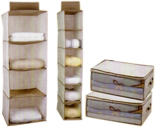 4-pc Storage Set, Shelves Hanging Sweater, Shoe Organizer and 2 Blanket cases