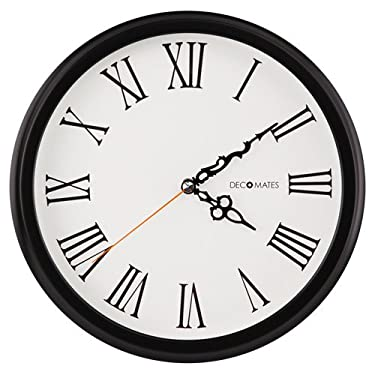 DecoMates Non-Ticking Silent Wall Clock with Roman Numerals - English (Black & White)