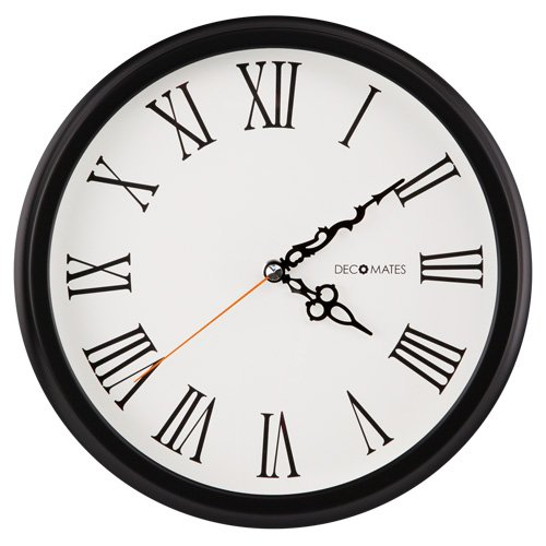 DecoMates Non-Ticking Silent Wall Clock with Roman Numerals