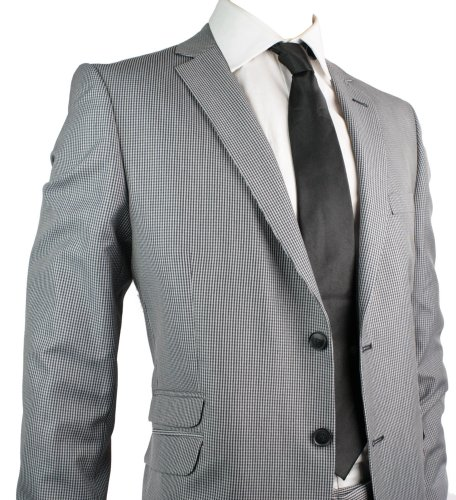 Mens Slim Fit Grey & Black Checked Suit Work Office or Wedding Party Suit UK