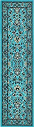 Country Traditional 3 feet by 10 feet (3\' x 10\') Runner Kashan Turquoise Area Rug