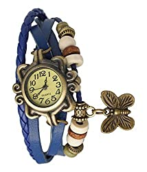 Xeno Analogue Butterfly Vintage Blue and Beige Dial Women's Watch R-BL