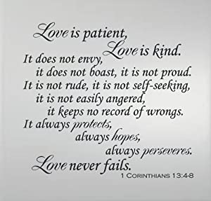 Amazoncom 1 corinthians 134 8 love is patient love is for What kind of paint to use on kitchen cabinets for christian wall art with scripture