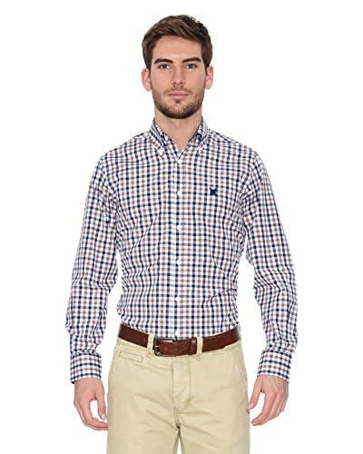 Polo Club Camisa Hombre Checks Marrón / Azul Marino