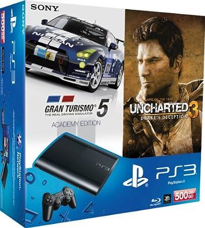 PlayStation 3 - Konsole Super Slim 500 GB + Uncharted 3 GOTY + Gran Turismo 5 Academy Edition [Importación alemana]