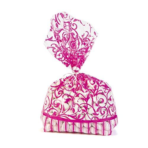 Hot Pink Swirl Flourish Favor Bags (12 pc)
