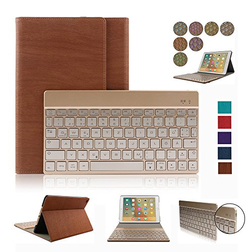 iPad Air 2 Case,Dingrich Ultra Slim Light Weight Trifold Case with Luxury Magnetic Detachable Aluminum Bluetooth Keyboard for iPad Air 2 with Auto Sleep/Wake Feature + Screen Protector + Stylus(Brown) (Ipad Air 2 Case With Keyboard compare prices)