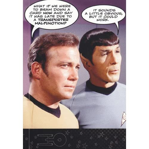 "Greeting Card Birthday Belated Star Trek ""What If We Were to Beam Down"