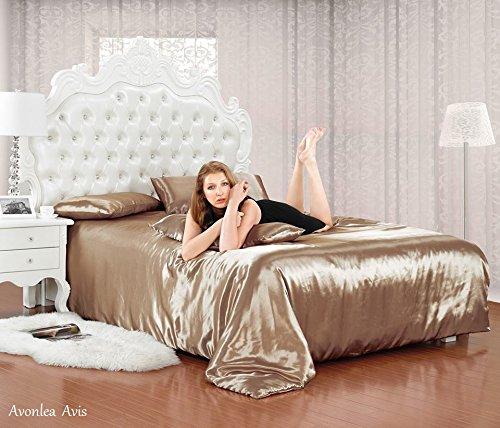 Luxus-Tennisarmband-Doppelbett-Beige-Satin-Bettwsche-Bettbezug-Komplettes-Bettwsche-Set-Spannbetttuch-4-Kopfkissenbezge