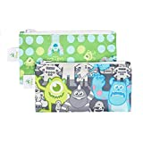 Bumkins Disney Baby Reusable Snack Bag Small 2 Pack, Monsters Inc. (Gray/Green)