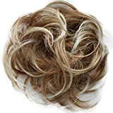 Scrunchy Scrunchie Bun Up Do Hairpiece Hair Ribbon Ponytail Extensions Wavy Curly or Messy (blonde mix #27T613)