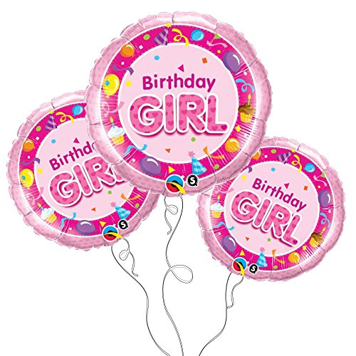 Birthday Girl Mylar Balloon -3pk