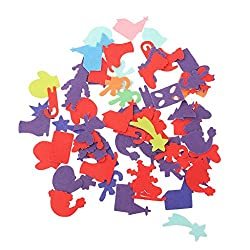 Imported 50pcs Adhesive Felt Shapes for Craft Felt Board Applique Die Cut Christmas
