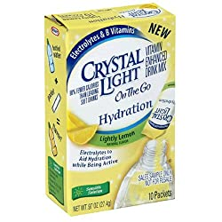 Crystal Light On the Go, Hydration Lightly Lemon, 10-Count Box (Pack of 6)