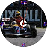 AYRTON SENNA NIGEL MANSELL BRITISH RACE 1991 LIFT HOME DRAWING * A CD/DVD (12 cm diameter) SIZED NOVELTY CD QUARTZ WALL CLOCK WITH FREE BATTERY AND DESK STAND * WE CAN PERSONALIZE FOR YOU FOC.