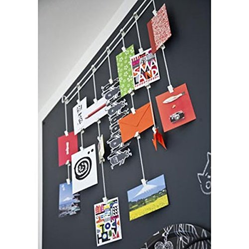 Hanging Rail Kids Arts Projects Crafts Display Photo Organizer with Clips and Chains , White (Wall Display Cards compare prices)