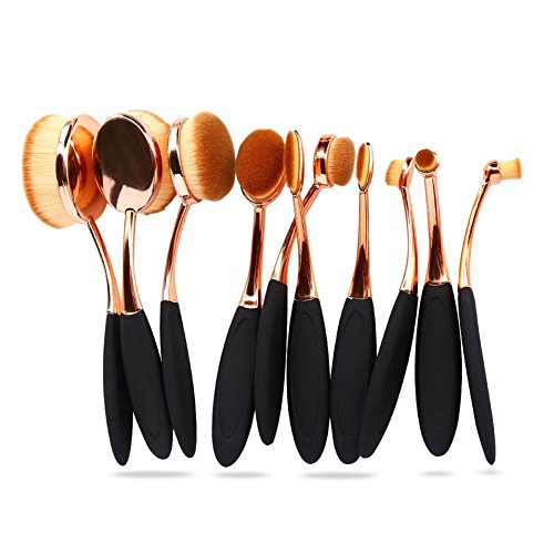 Oval Foundation Makeup Brush Sets Powder Blusher Toothbrush Curve Cosmetic Brushes Tool Kits Rose Gold (10pcs)