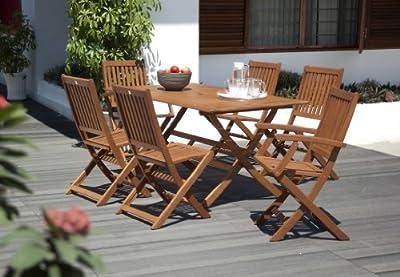 Eucalyptus Wood 6 Seater Outdoor Dining Set, with Rectangular Table OGD004