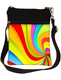 Snoogg Abstract Rainbow Design Cross Body Tote Bag / Shoulder Sling Carry Bag