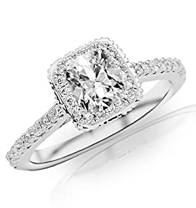 0.93 Carat Cushion Cut / Shape 14K White Gold Stunning Vintage Halo Style Diamond Engagement Ring ( H-I Color , VS1 Clarity )