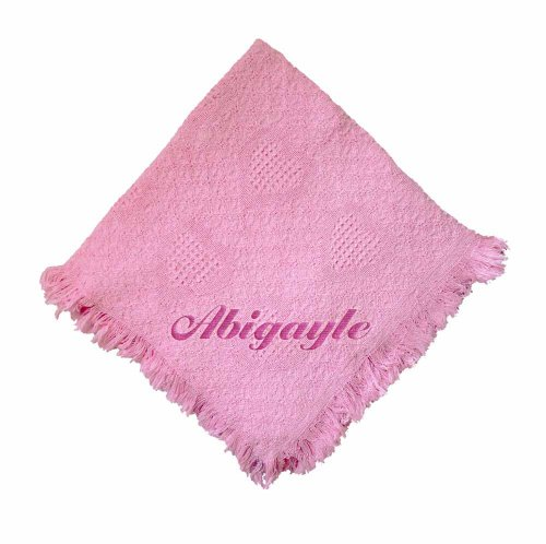 Custom Embroidered Monogrammed Pink Girl Cotton Woven Personalized Baby Blanket Yellow Thread front-732577