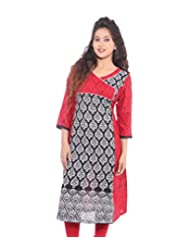 Lal Chhadi Women's 3/4 Sleeve Cotton Printed Kurta With Combination Of Red And Black Color