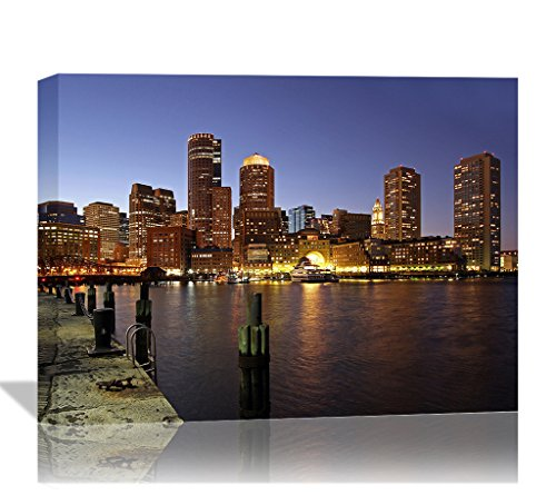 Eden Art Modern Boston Skyline And Fan Pier Landscape Pictures Prints on Canvas Walls Paintings, High Giclle Stretched and Framed Poster Ready to Hang on the Wall of Home Decor 12''x16'' (Boston Skyline Painting compare prices)