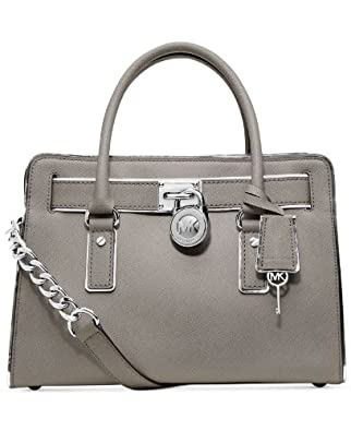 Michael Kors Hamilton Specchio East West Satchel Pearl Grey Leather Handbag