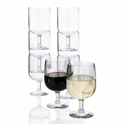 AmazonSmile | Stackable Premium Quality Plastic 8oz Wine Glass - Set of 8: Wine Glasses