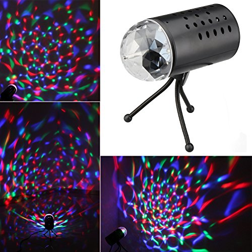 1byone New Voice Contrl Rotating RGB LED Crystal RAINBOW COLOR Effect Light Disco DJ Stage Lighting, Perfect Gift and Easy to Use for the DJ Disco Lamp Dance Party, Hotels Decoration Use,Theaters, Clubs, Shopping ,Malls, Festivals and Performances