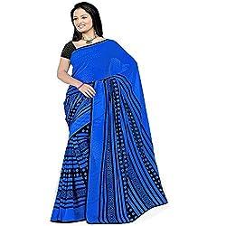 Pawan Tex satin saree for women's (saree70_blue)