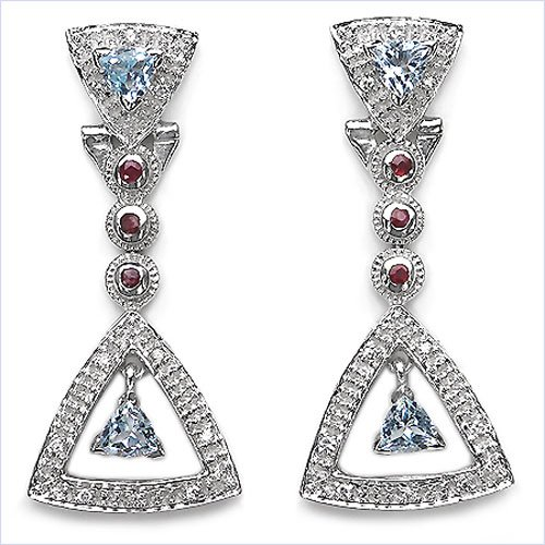 Jewelry Schmidt-Precious Blue Topaz Cubic Zirconia Ruby Earrings 925 Silver Rhodium