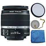 Canon EF-S 18-55mm f/3.5-5.6 IS II Lens (White Box) + AUD Essential Accessory Bundle For Canon SL1 T5i T5 T4i T3i T3 60D 70D T2i T1i Xsi XS DSLR Cameras