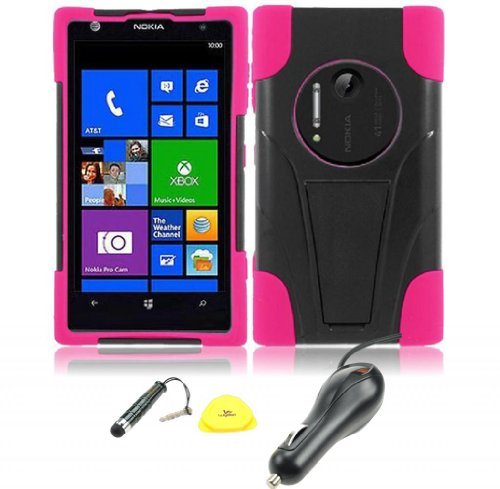 For Nokia Lumia 1020 Elvis - Wydan Trapezoid Y-Stand Hybrid Hard Soft Gel Case Cover-Black On Pink W/ Wydan Stylus Pen, Prying Tool And Car Charger