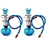 Onlineshoppee Blue Unique Design 12 Inch Glass Hookah With Coal Pack And Flavor,Pack Of 2