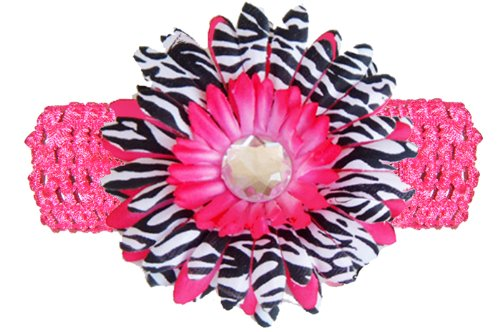Hot Pink Black White Zebra Jewel Gerbera Daisy Flower Pink Crochet Headband Gerber - Girls Child Baby Toddler Apparel Head Hair Band Bow Bows Girl Soft Infant Youth Accessory front-30905