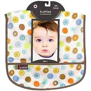 Kushies Waterproof Bib, White Circle, Infant