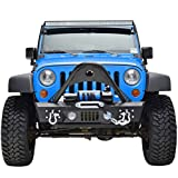 RF Jeep Wrangler JK Black Textured Front Bumper with Stinger and Built In Winch Plate and Fog Lights