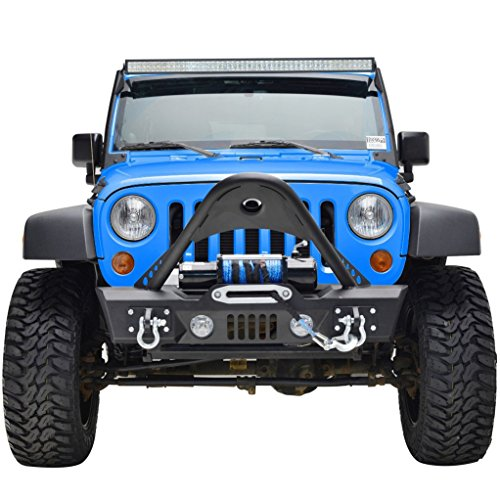 GSI Jeep JK Wrangler Black Stinger Front Bumper with JK Jeep Winch Plate and D-Rings