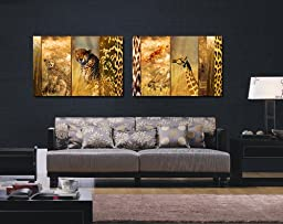 Espritte Art-Huge Canvas Print Wall Art Leopard and Giraffe Pictures Modern Home Decoration Painting set of 2 Each is 40*60cm, Stretched and Framed, Ready to Hang #CY-214