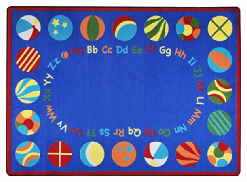 "Joy Carpets Kid Essentials Early Childhood Oval Bouncy Balls Rug, Multicolored, 5'4"" x 7'8"""