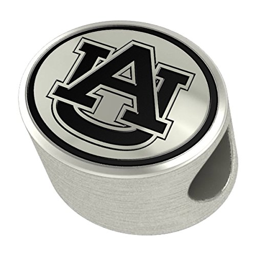 Auburn Tigers Sterling Silver Antiqued Bead Fits Most European Style Charm Bracelets